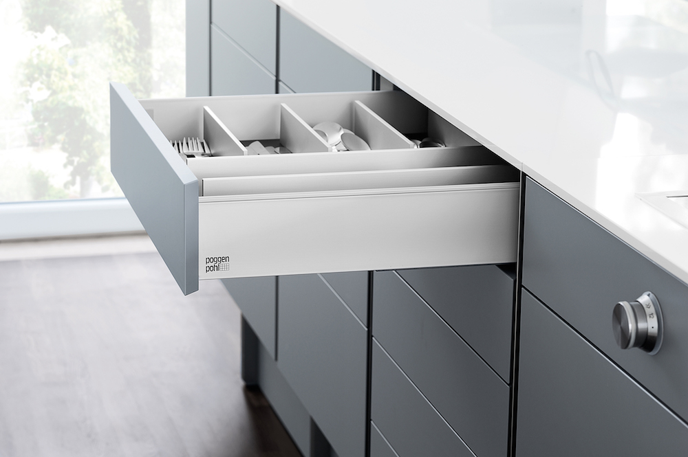 Poggenpohl P´7350 Grey and White Drawer with mitred front